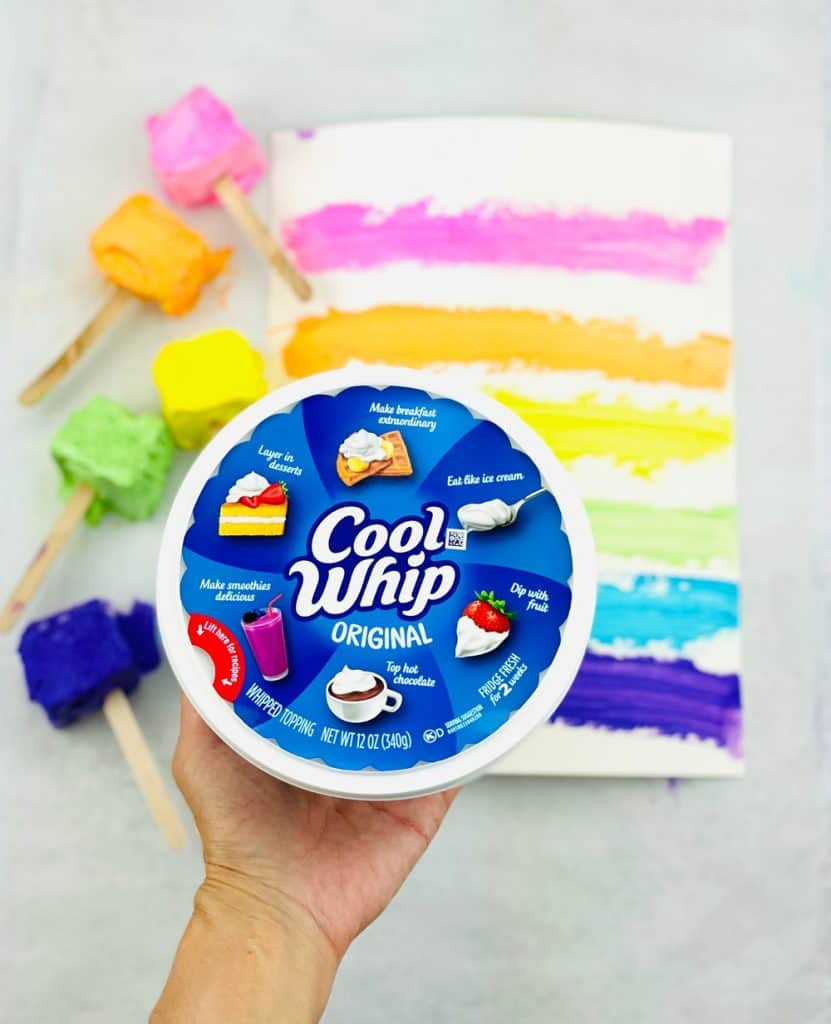 two ingredient taste safe paint made with Cool Whip. Shows Cool Whip container upfront