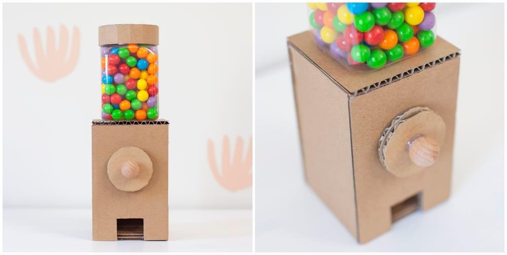 DIY cardboard gumball machine