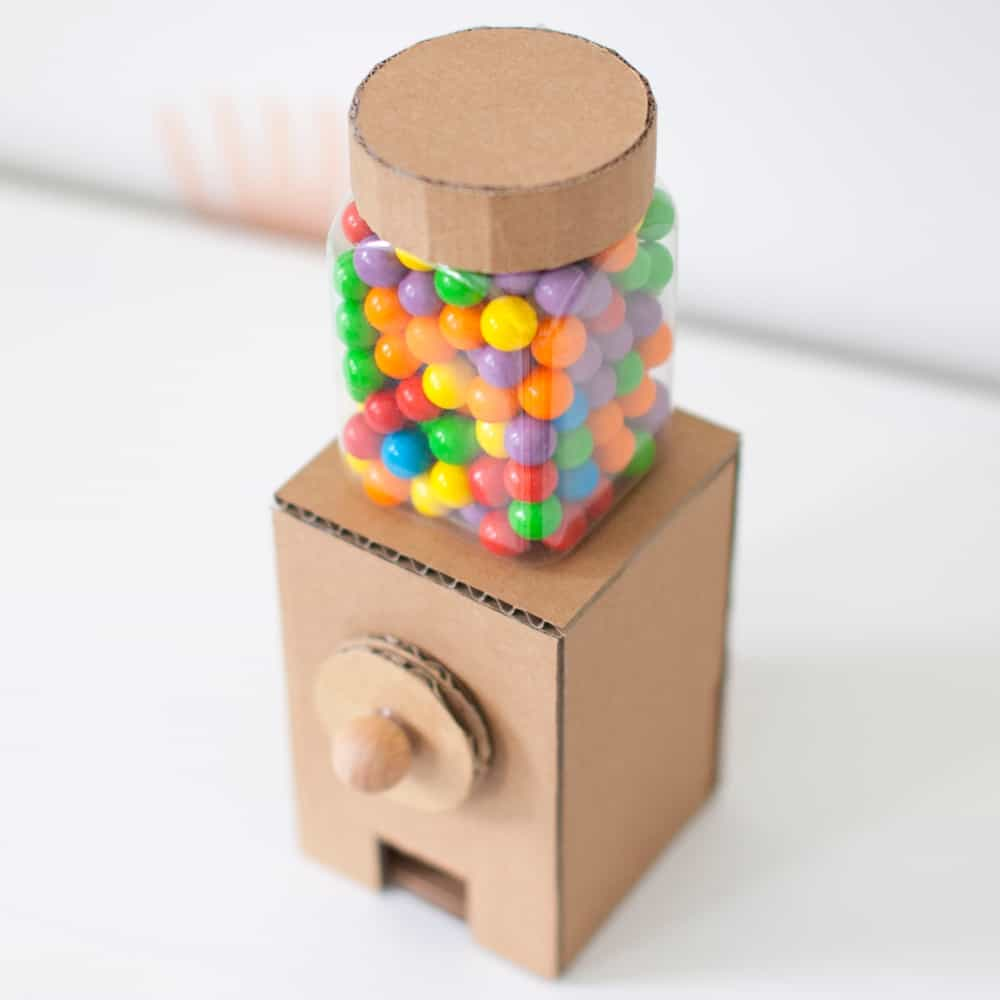 showing top down of a cardboard gumball machine
