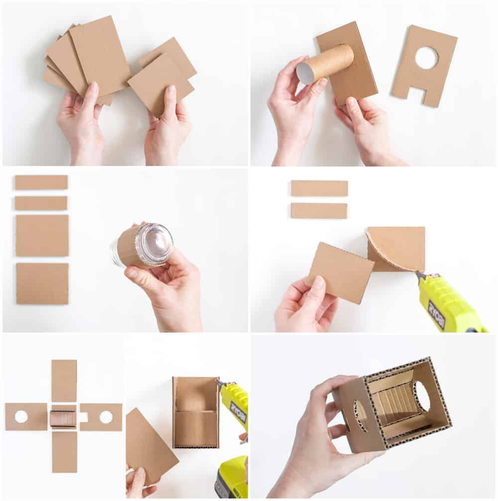 step by step process to make a cardboard gumball machine