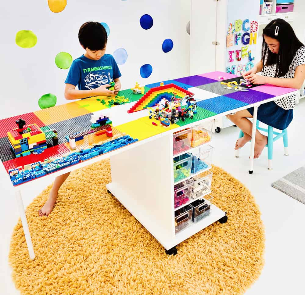 DIY LEGO Table that is large enough to fit two kids playing and building