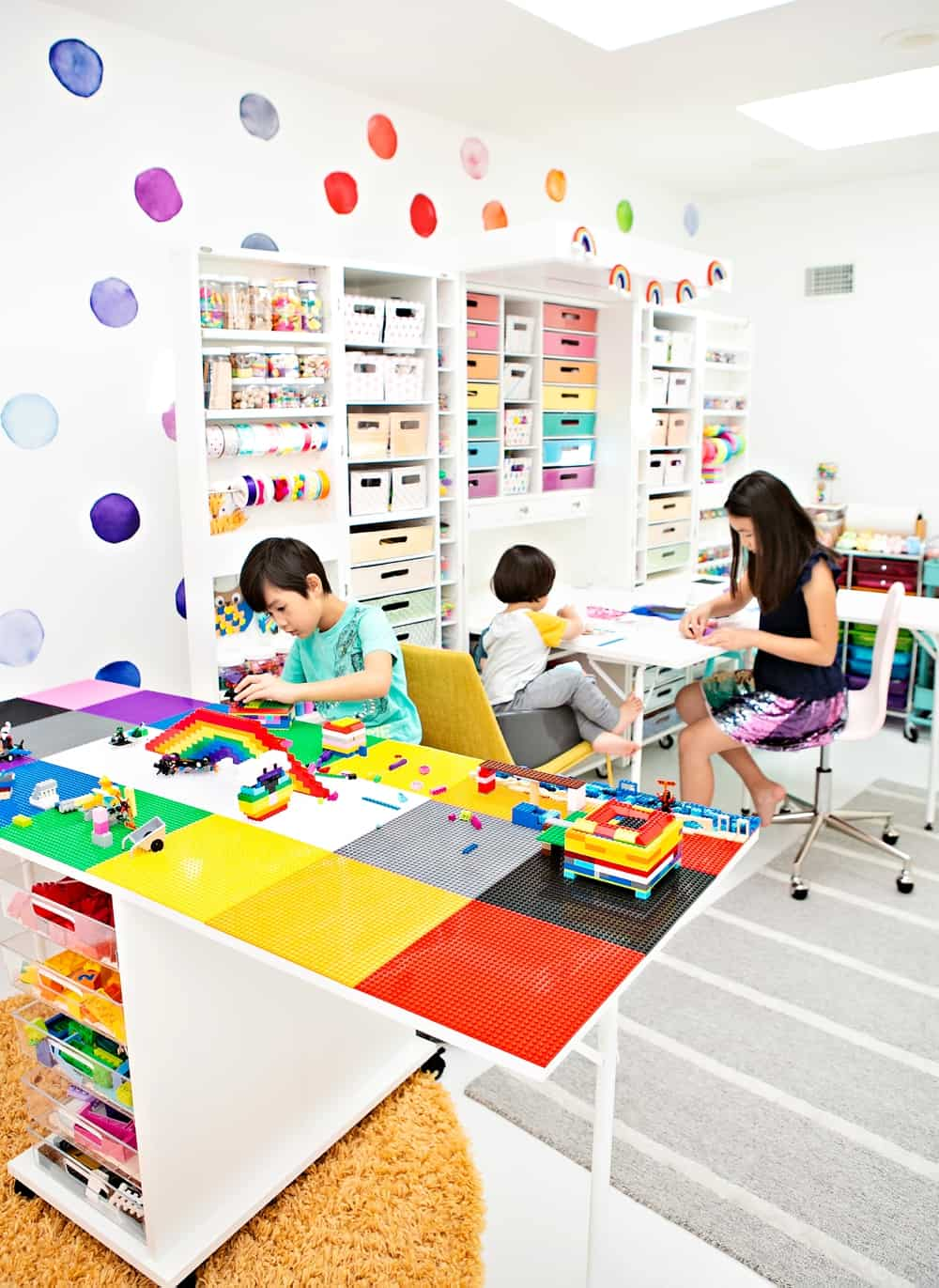 DIY LEGO Table shown in a kids craft room