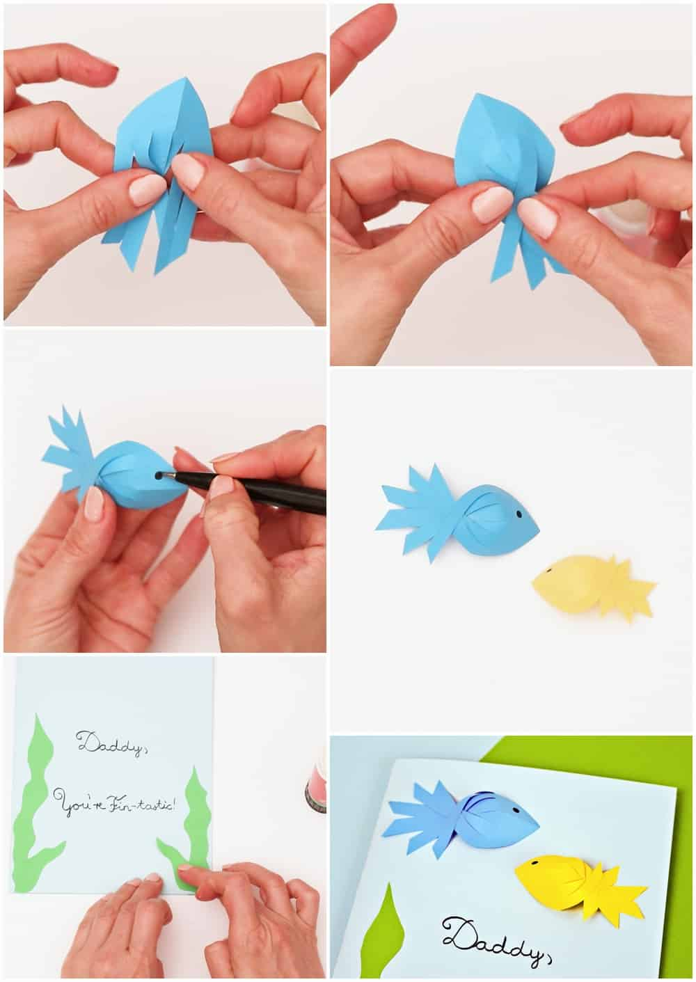 Process photos of how to make 3D paper fish for a father's day card