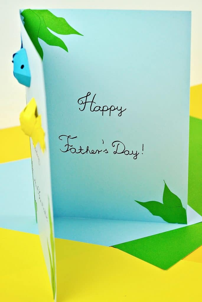 """Father's Day Fish Card craft showing inside card saying """"Happy Father's Day"""""""