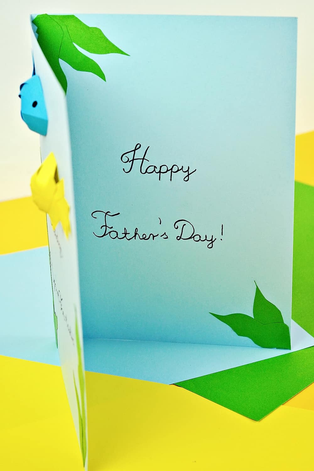 Father's Day Fish Card craft showing inside card saying