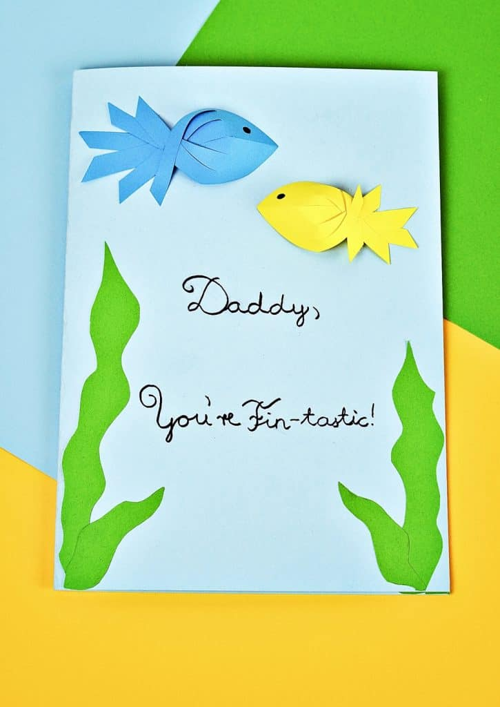 father's day paper fish card craft