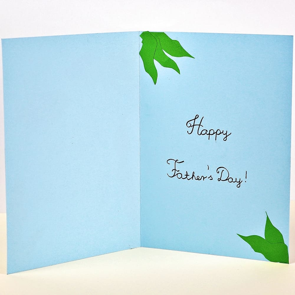 Inside of a blue diy father's day fish card