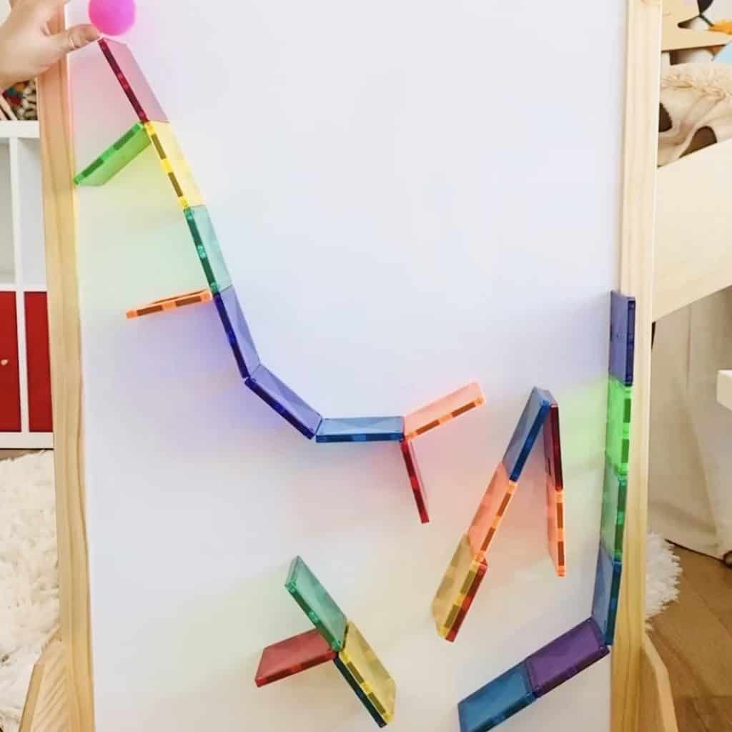 magnetic tile toys used as a marble maze