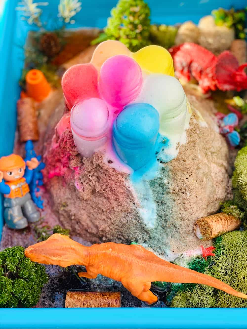 rainbow baking soda volcano science experiment for kids