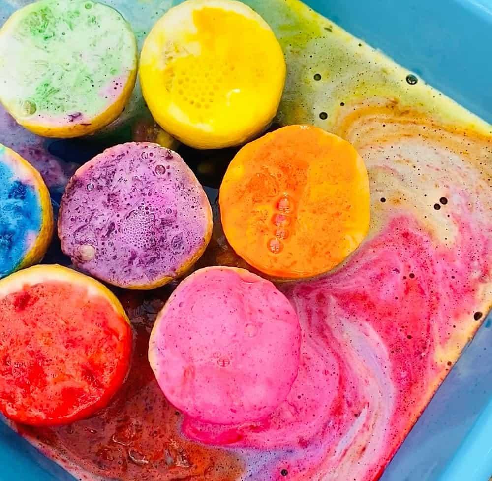 rainbow lemon volcano science experiment for kids