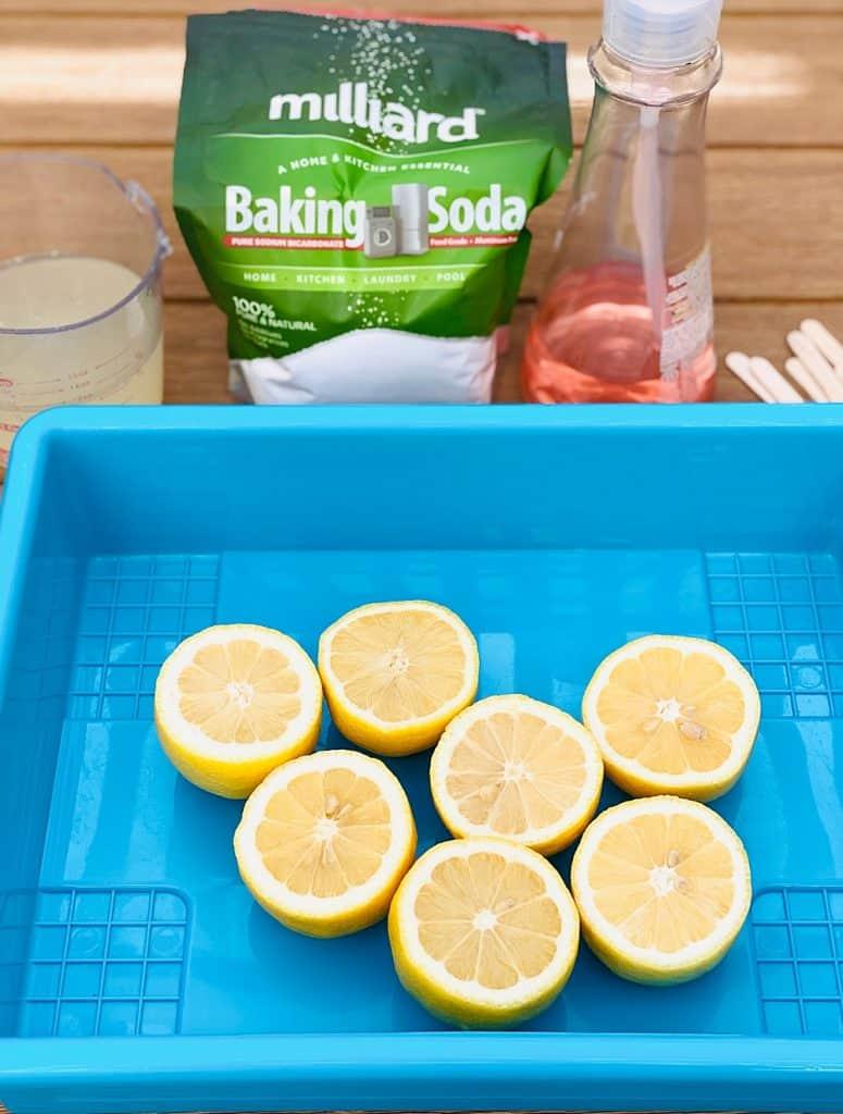 cut lemons, baking soda, dish soap to make lemon volcanoes