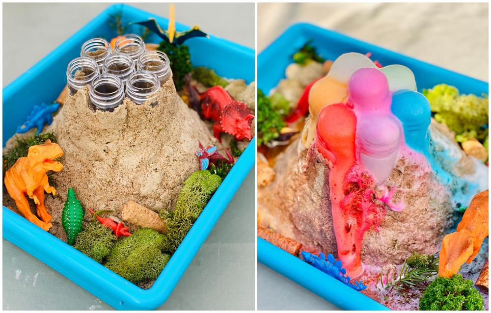 Rainbow Baking Soda Volcano Experiment. Sand around tubes as the volcano in a blue plastic bin.