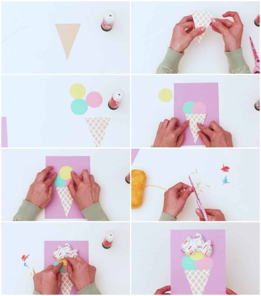 process steps to make cotton ball ice cream craft with paper scoops and cones
