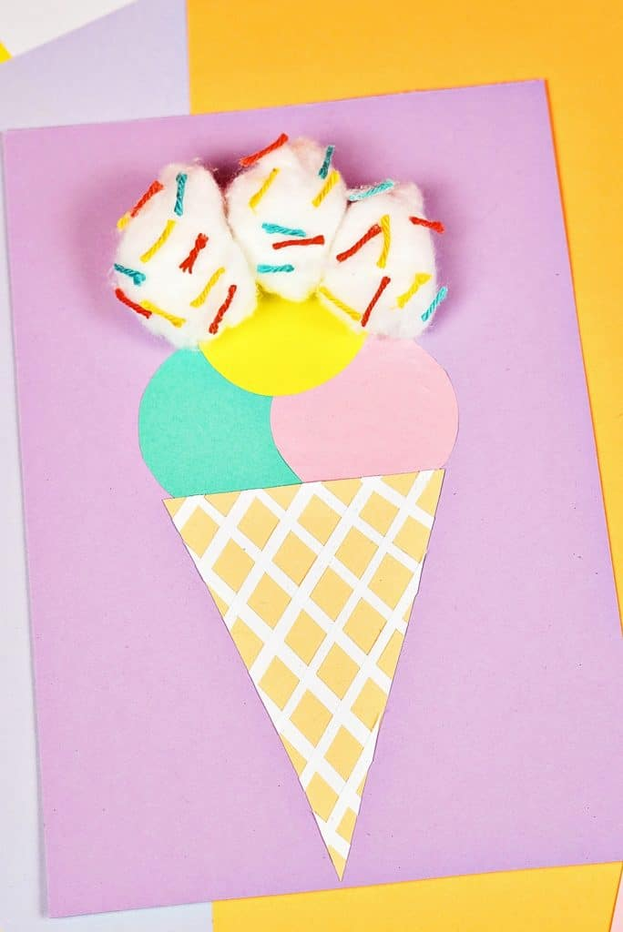 Cotton Ball Ice Cream Paper Craft
