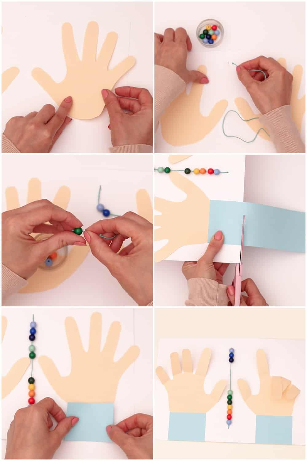 Process to make early number and math learning with paper hands cut out and counting beads