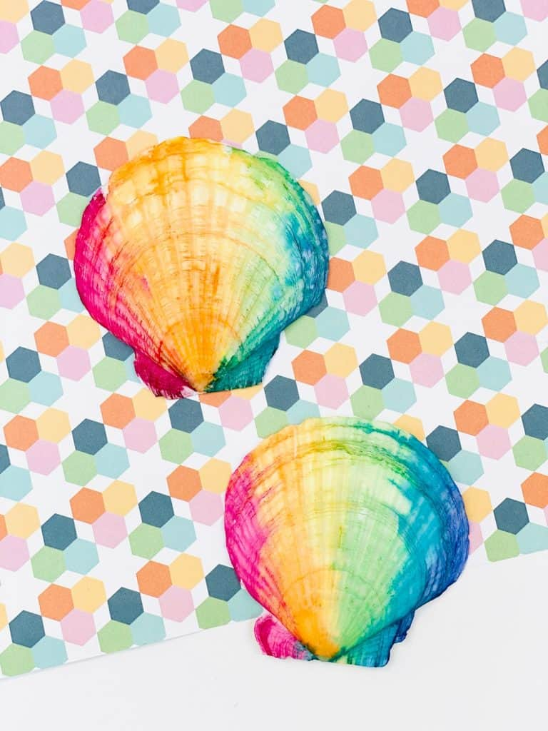 rainbow watercolor painted seashells