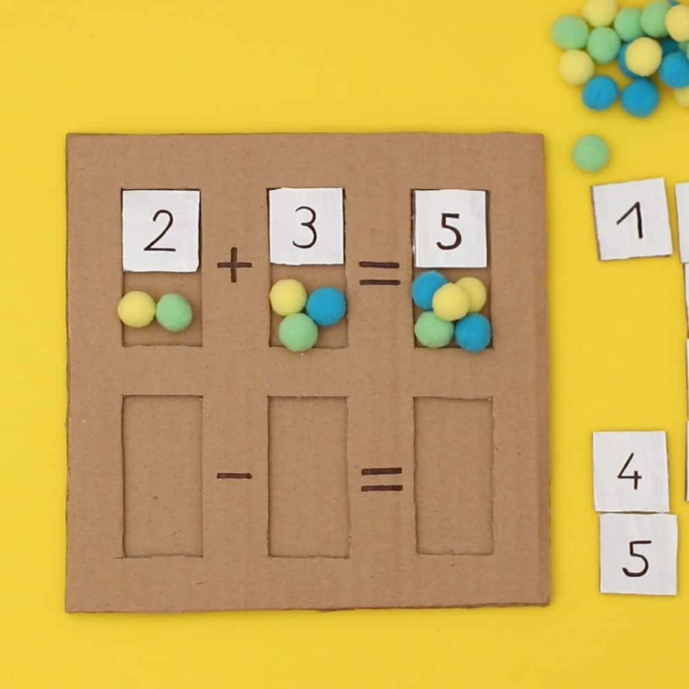 cardboard math puzzle with pom poms for early kids math learning