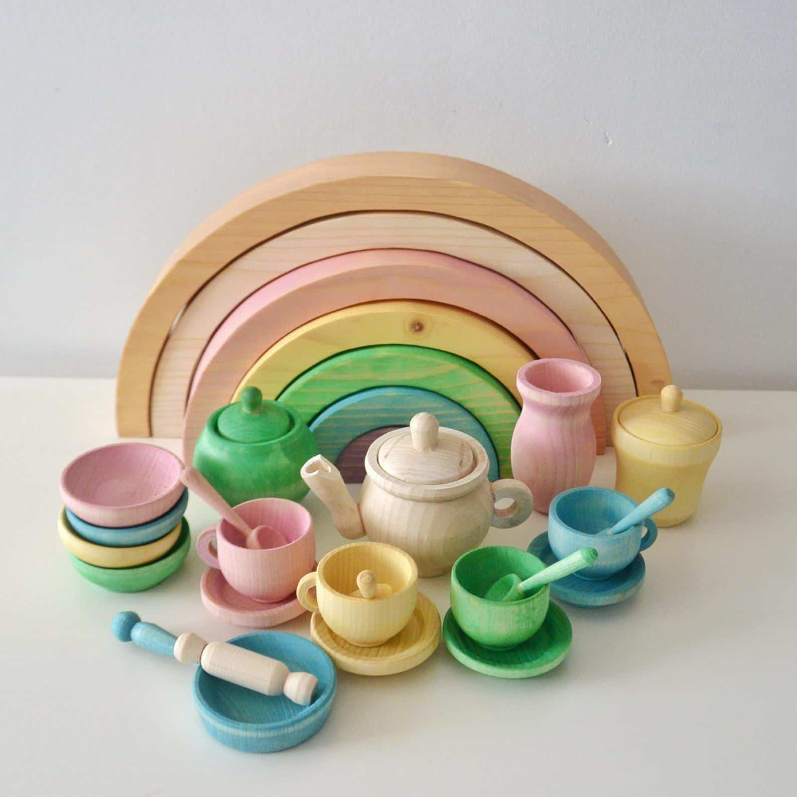 rainbow wooden tea set