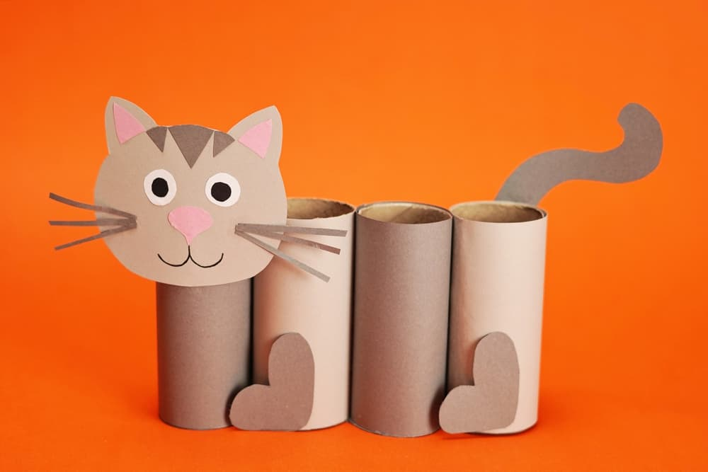 paper cat craft made of toilet paper tubes