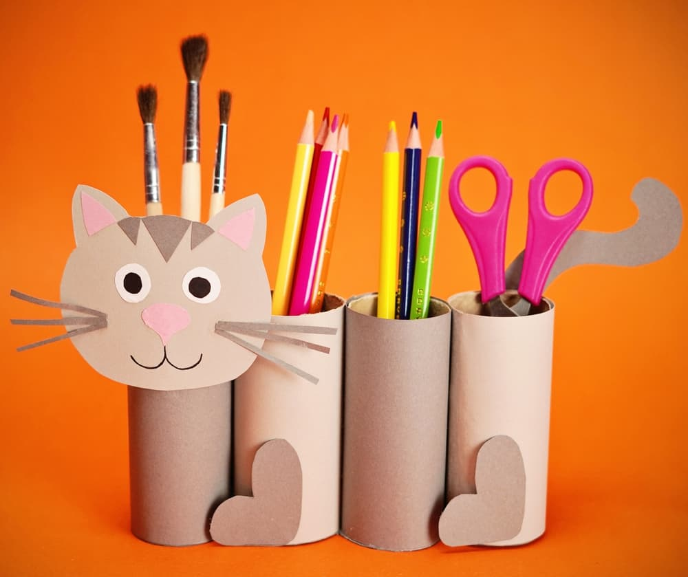paper roll cat craft to function as a pencil holder great back to school craft for kids