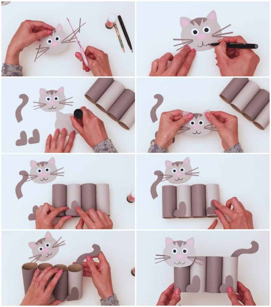 process to make a cat paper tube craft