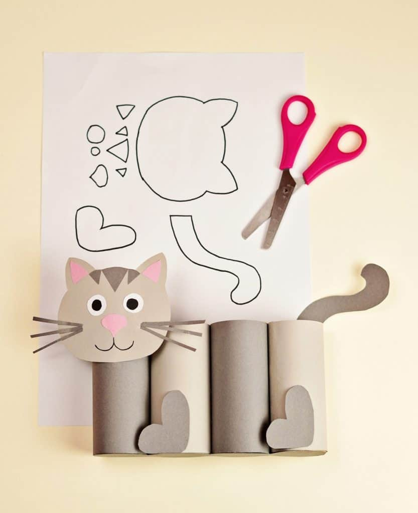 paper roll cat craft template