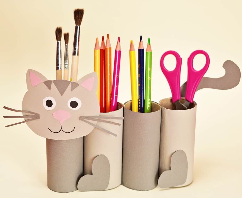 back to school pencil holder craft shaped like a cat using paper toilet tubes