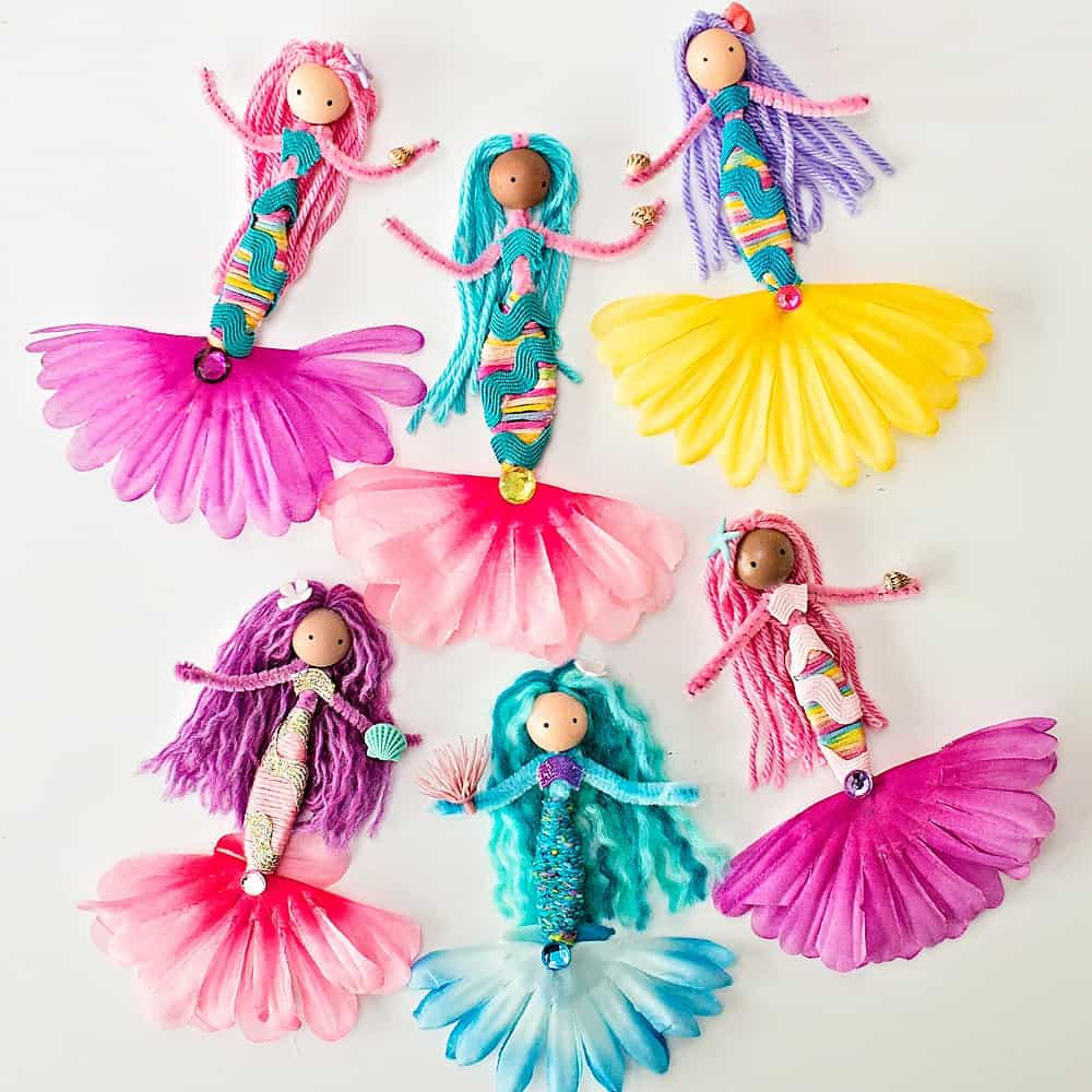diy mermaid dolls made with pipe cleaners