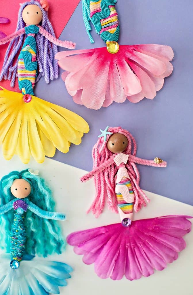 pipe cleaner mermaid dolls made with flowers, yarns and ribbon