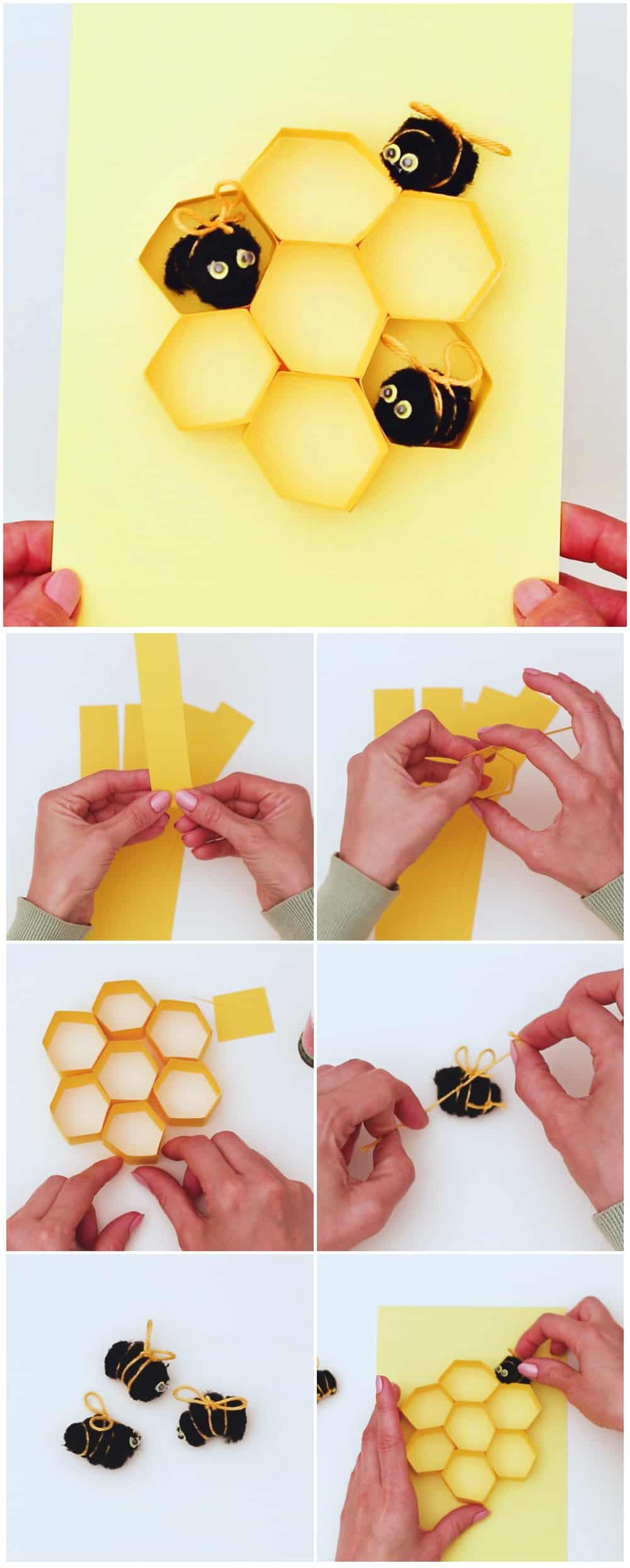 process to make a paper bee pom pom craft