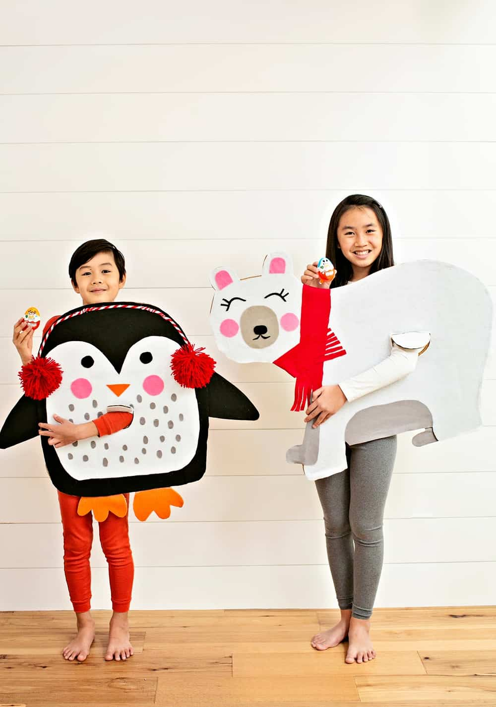 DIY CARDBOARD POLAR BEAR AND PENGUIN COSTUMES