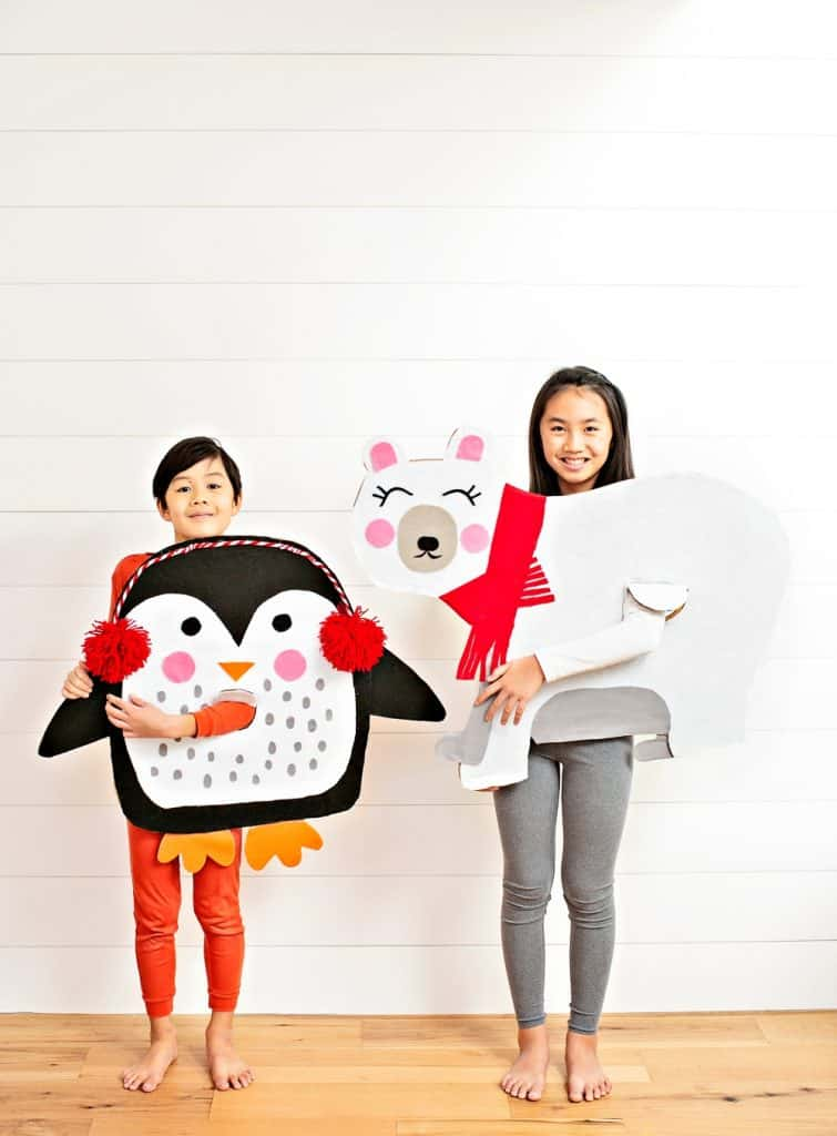 DIY Polar Bear and Penguin Costumes