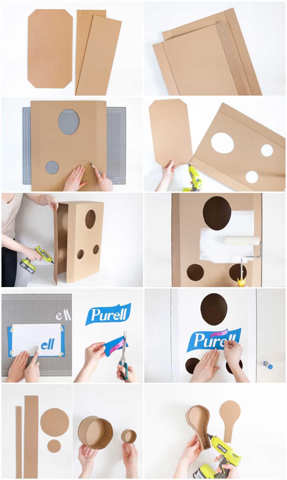 cardboard hand sanitizer Halloween costume