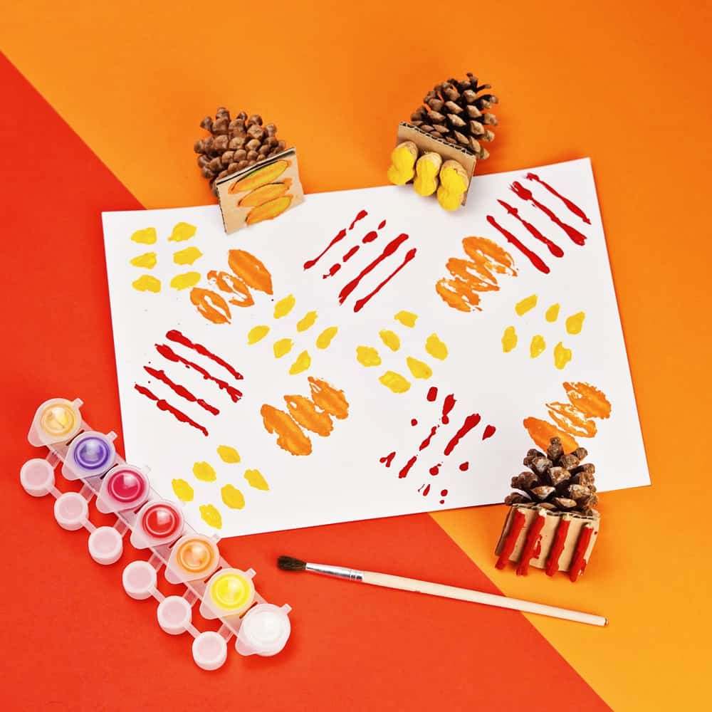 fall nature stamps art for kids