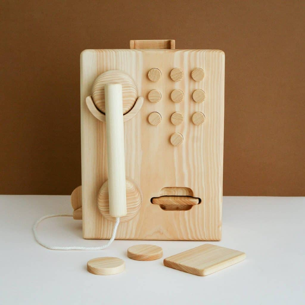 wooden telephone toy
