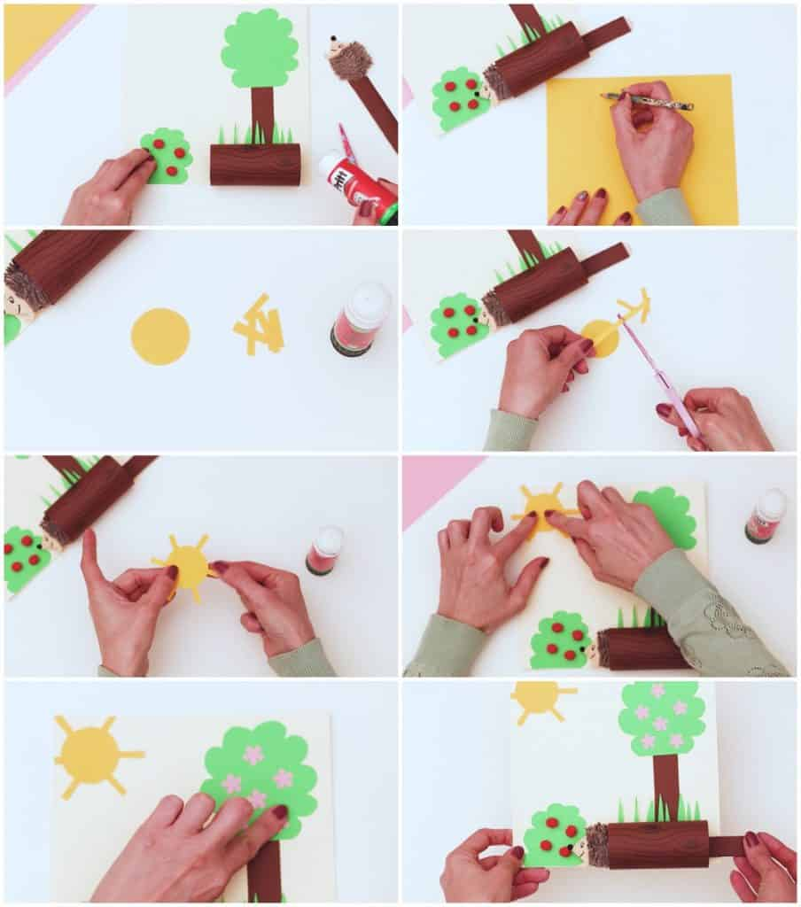 process pictures on how to make a craft hedgehog out of of paper
