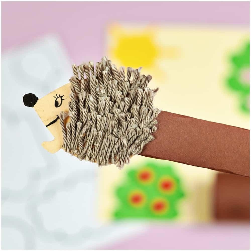 yarn hedgehog on a stick craft