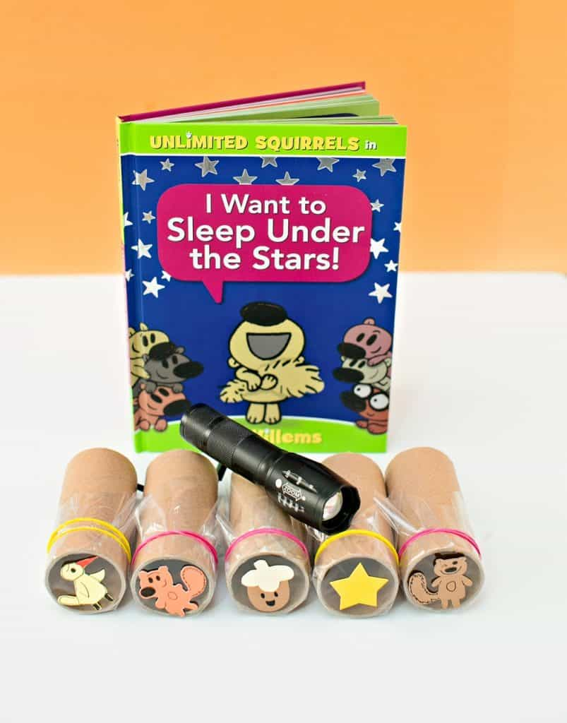 Unlimited Squirrels: I Want to Sleep Under the Stars! paper tube shadow projector craft