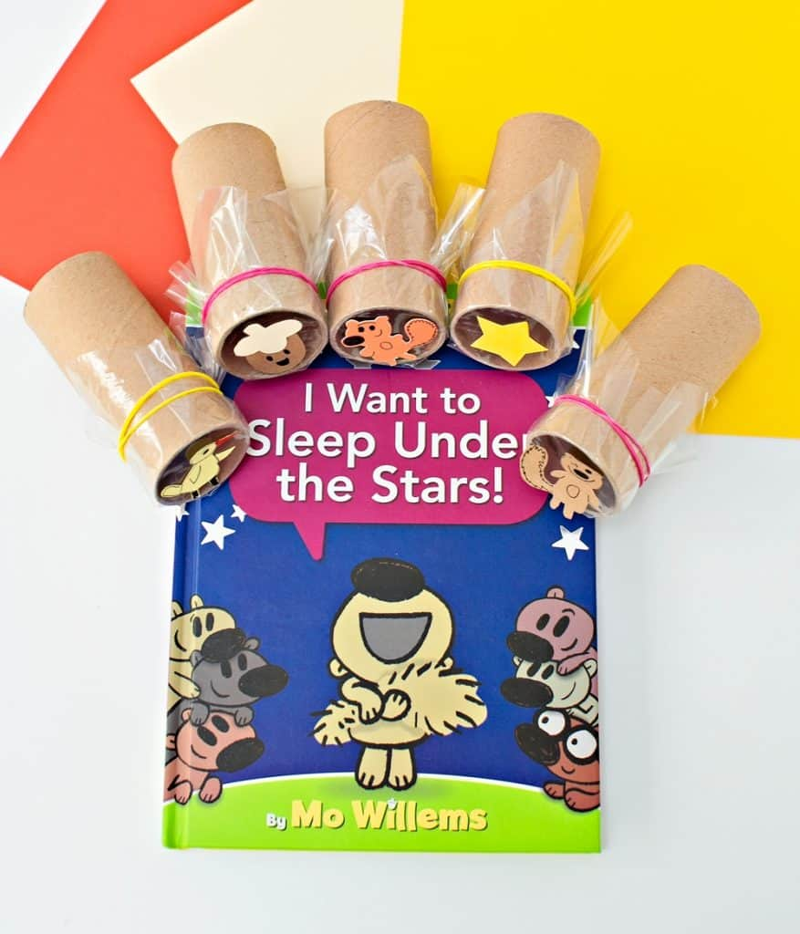 diy shadow paper roll projector based on I want to sleep under the stars Mo Willems book