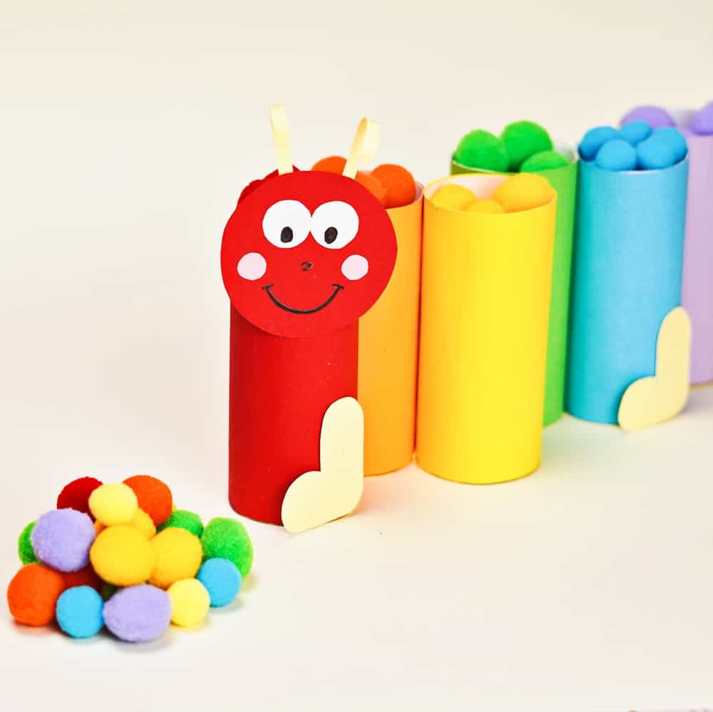 PAPER TUBE CATERPILLAR POM POM LEARNING ACTIVITY