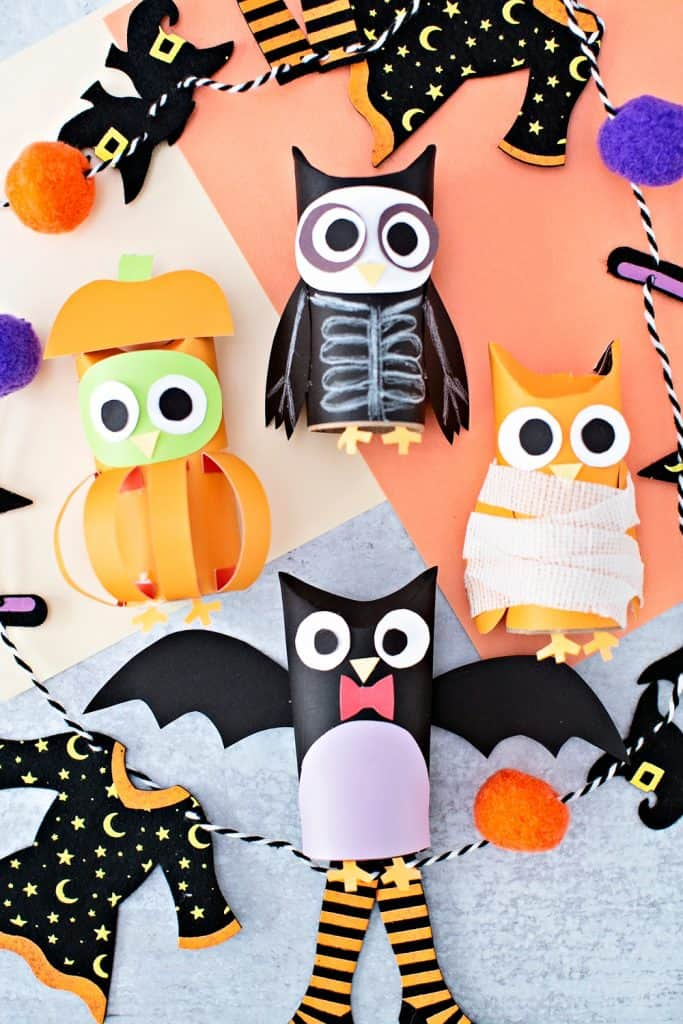 Halloween Paper Tube Owls. Paper mummy, skeleton, bat and pumpkin owl craft.