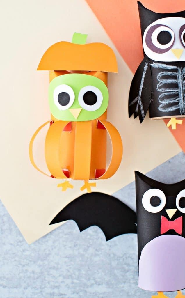 pumpkin owl paper tube craft