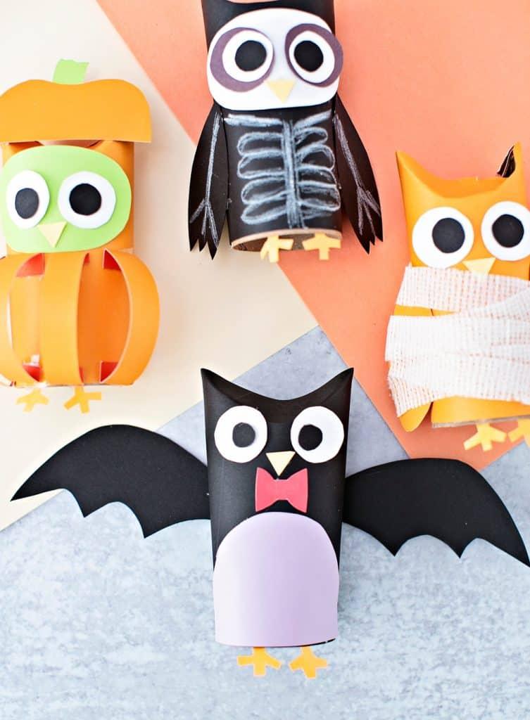 Bat paper tube halloween craft