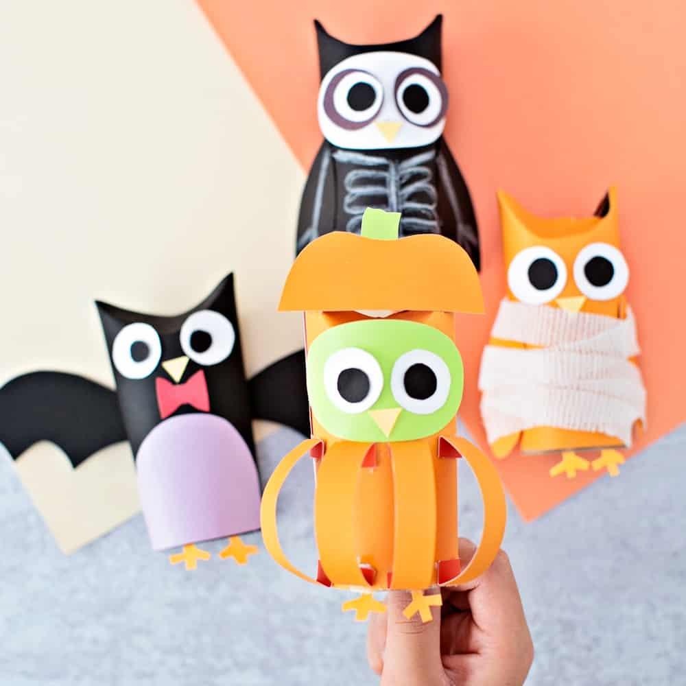owl pumpkin paper tube craft