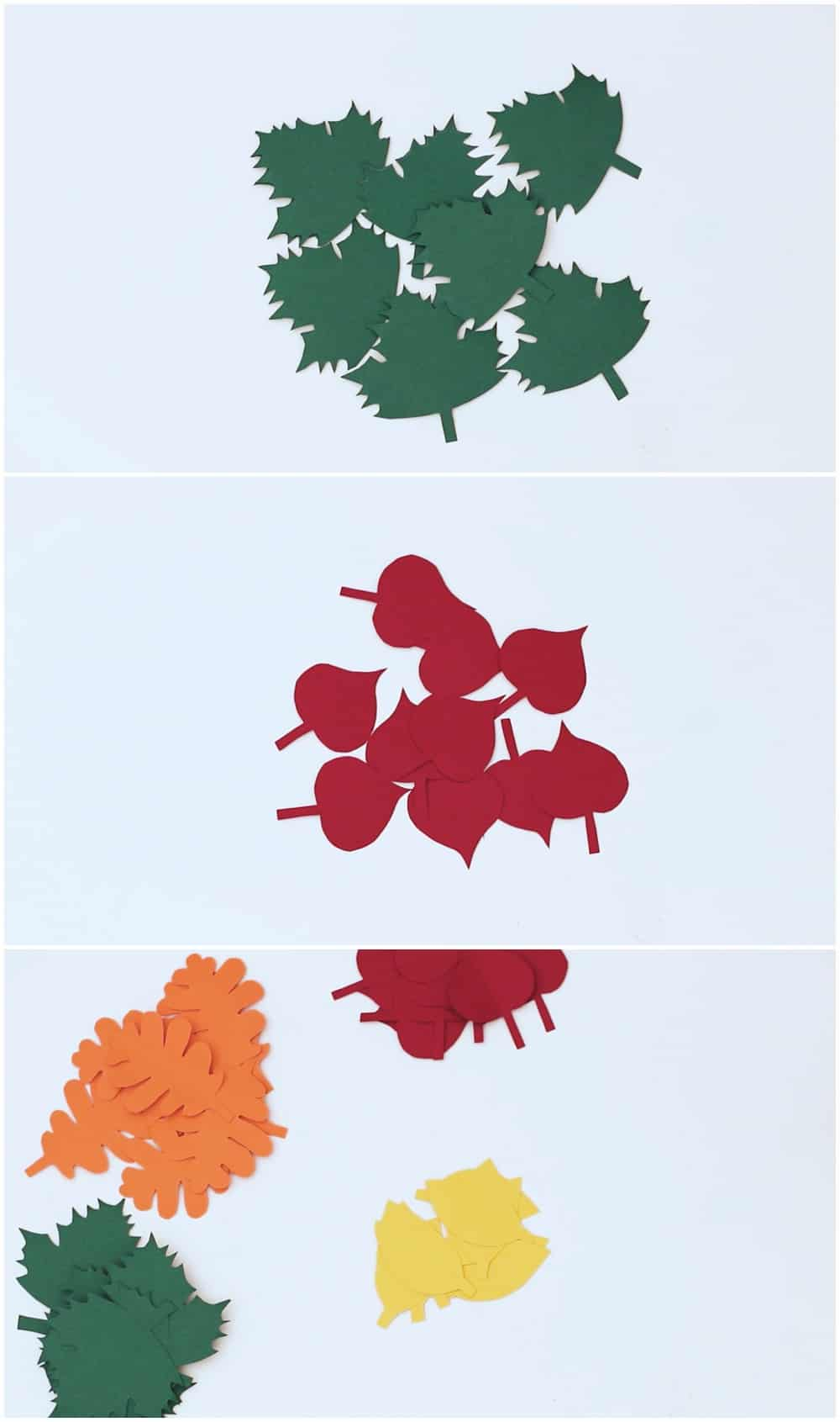cut paper leaves with free template