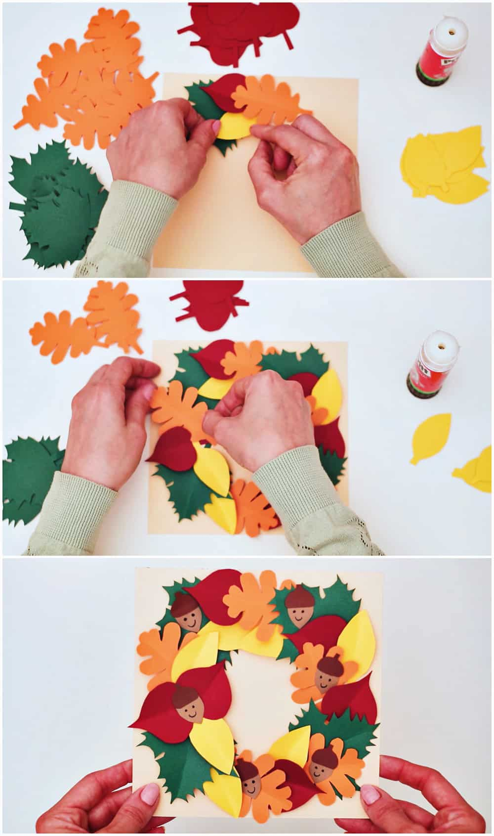 how to make a paper leaf wreath with our free template