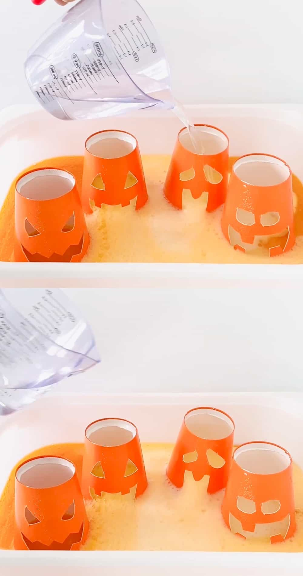 Pumpkin Baking Soda Vinegar Science Experiment. Use cups and carve out Jack O'Lantern faces to do this classic Halloween science project.