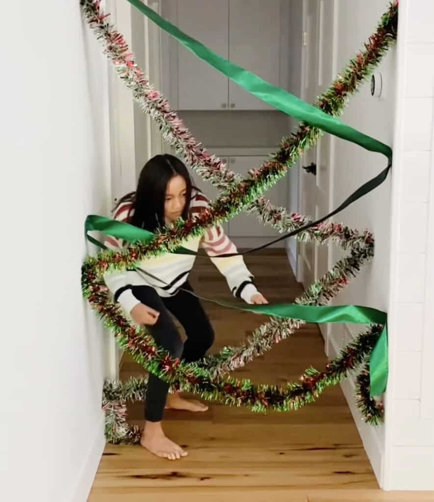 Christmas garland obstacle course game for kids