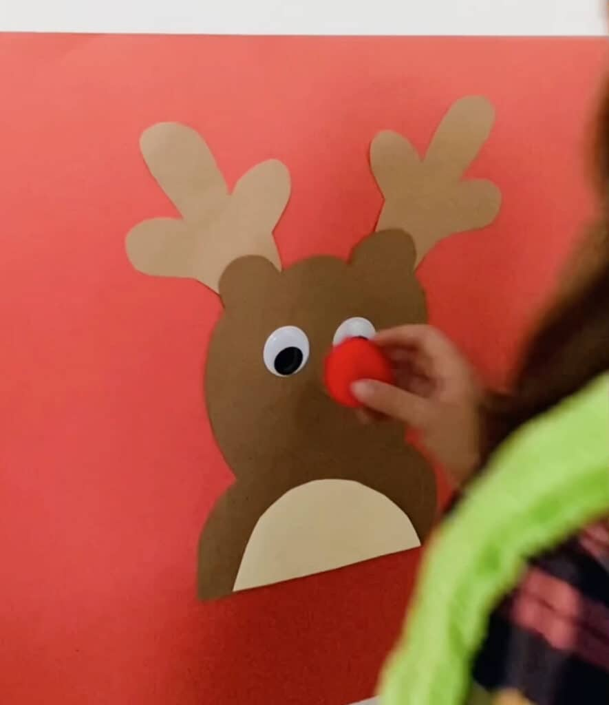 pin the nose on rudolph the reindeer game