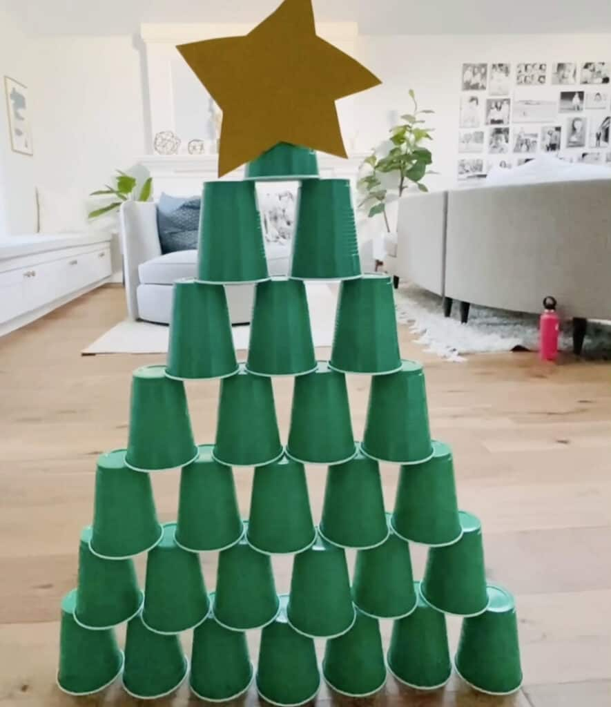 Christmas tree stacking cup game